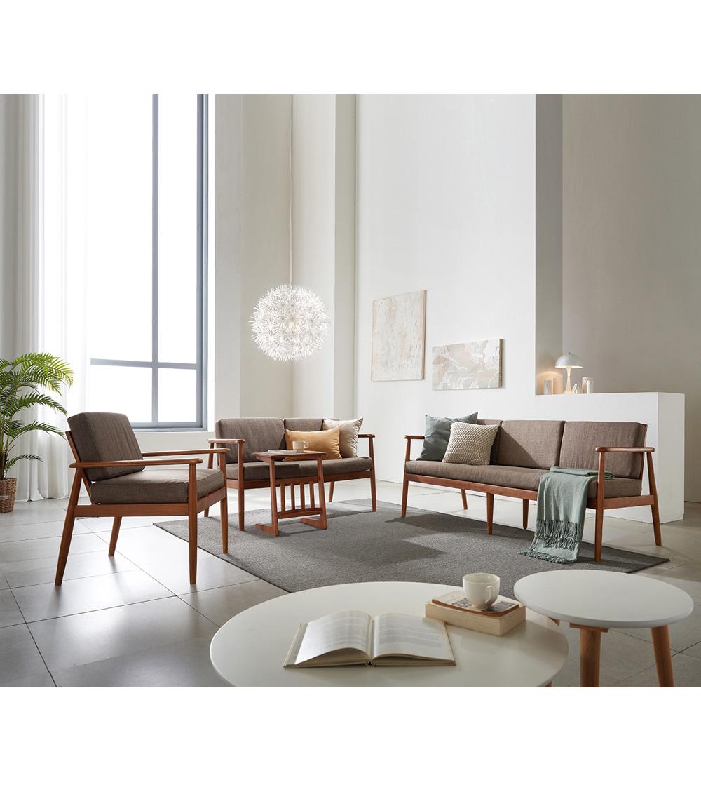 리치 원목 패브릭 3인용 쇼파 의자 (베이지) - 웨어하우스, 499,000원, 패브릭소파, 2인/3인소파