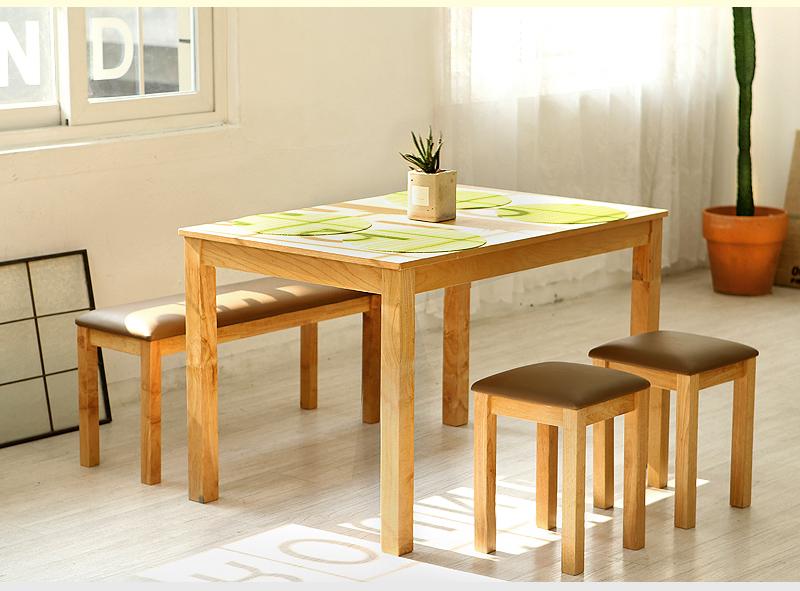 모쿠 4인 원목식탁 세트 (의자 4개 포함) - 웨어하우스, 220,480원, 책상/의자, 일반 책상